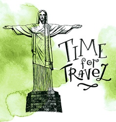 Rio De Janeiro and Christ the Redeemer Brazil vector