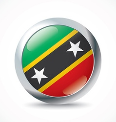 Saint Kitts and Nevis flag button vector image