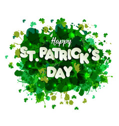 saint patrick s day lettering on green hand draw vector image