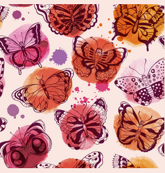 seamless pattern watercolor butterflies vector image