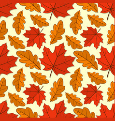 Seamless pattern with oak and maple autumn leaves vector