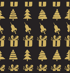 Seamless patterns bells boxes and fir-trees vector