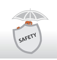 Security Behind a shield and under the umbrella vector image