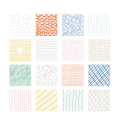 set abstract colored squares hand drawn vector image