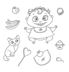 set joyful child and kitten chubby funny vector image