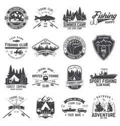Set of fishing and camping club badge vector