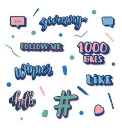 Set of social media elements template vector