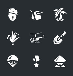 Set of vietnam war icons vector