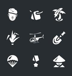 set of vietnam war icons vector image