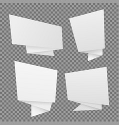 set of white paper origami speech bubbles vector image