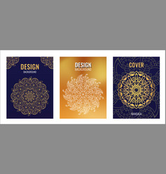set poster golden mandala on dark blue background vector image