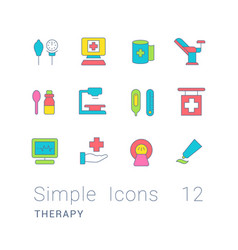 Set simple line icons therapy vector
