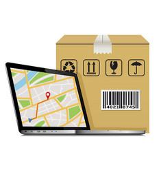 shipping parcel gps tracking order design laptop vector image