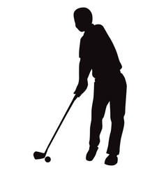 Silhouette of golf swing front view - vector