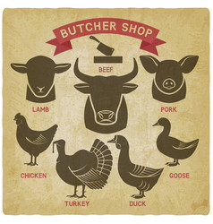Silhouettes of animals set butcher shop icons vector