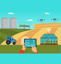 Smart farm and agricultural automation and vector