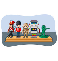soldier figures and robot on wooden shelf vector image