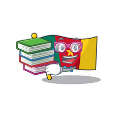 Student bring book flag cameroon above table vector