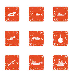 Tense military icons set grunge style vector