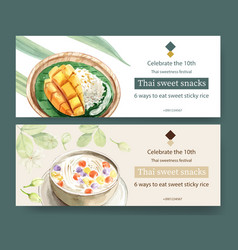 Thai sweet banner design with sticky rice mango vector