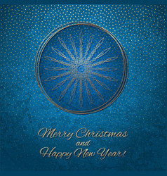 This is a blue and gold christmas card vector