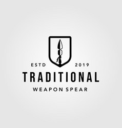 traditional spear shield spearheaded vintage logo vector image