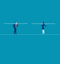 Two businessmen converge on tightrope concept vector