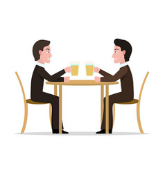 Two cartoon men drinking beer vector