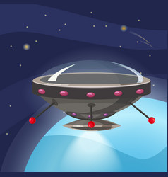 ufo spaceship cartoon style background space vector image