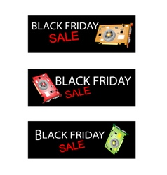 Video Card on Black Friday Sale Banners vector