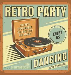 Vintage banner retro party vector