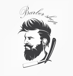 Vintage barber shop emblem label badge with beard vector