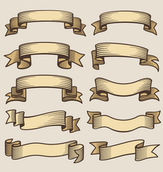 Vintage design banner ribbons blank old vector