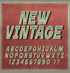 Vintage font retro style letters and numbers vector