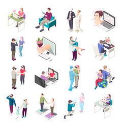 Virtual love isometric icons vector