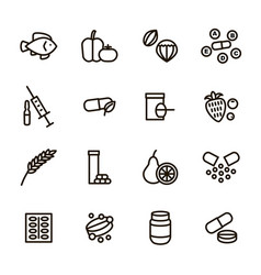 Vitamin and dietary signs black thin line icon set vector