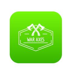 war axe icon green vector image