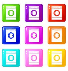 Washing machine icons 9 set vector