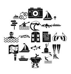 Water spot icons set simple style vector