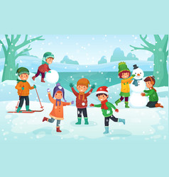 winter fun for kids happy cute children playing vector image