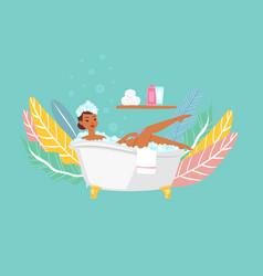 Woman bathing in bathtub dark skinned asiatic vector