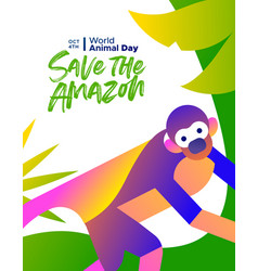 World animal day poster amazon forest monkey vector
