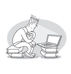 Young man sits in front of laptop vector