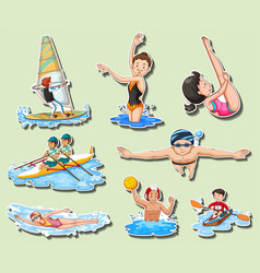 Sticker set with men and women doing sports vector