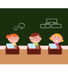 cute happy kids in classroom vector image