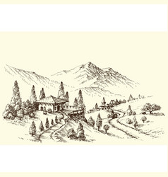 farm and village landscape sketch vector image vector image