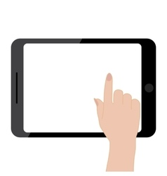 Female hands holding tablet computer touch screen vector image vector image
