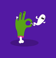 halloween concept zombie hand holding a ghost vector image vector image