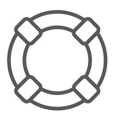 lifebuoy line icon sos and lifeguard help sign vector image