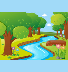 scene with river and trees vector image vector image